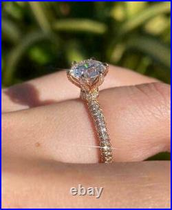 2 Ct Round-Cut VVS1/D Diamond Solitaire Engagement Ring 14K Yellow Gold Finish