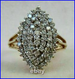 2 Ct Round Diamond Cluster Engagement Wedding Ring Solid 14K Yellow Gold Finish