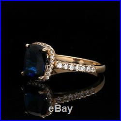 3.00TCW Halo Radiant Blue Sapphire & Created Diamond Ring Solid 14K Yellow Gold