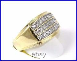 3.00 Ct 3 Row Round Diamond Cluster Men's Wide Ring Band 14k Yellow Gold Over