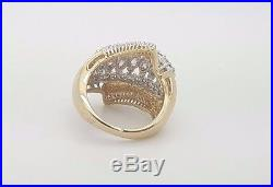 3.03 Ct. ESTATE 14K YELLOW GOLD ROUND MARQUISE BAGUETTE DIAMOND COCKTAIL RING