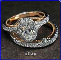 3.19ct Oval cut Engagement Wedding Band Diamond Ring Solid 14k Yellow Gold
