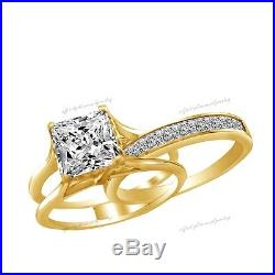 3.35 ct Princess Cut 2 Piece Engagement Wedding Ring Band Solid 14K Yellow Gold