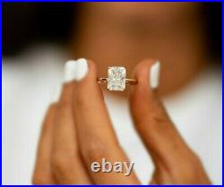 3.38ct Radiant Cut Solitaire Diamond Engagement Ring Band Solid 14K Yellow Gold