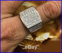 3 CT Men's Yellow Gold Over Round Cut Diamond Engagement Wedding Pinky Band Ring
