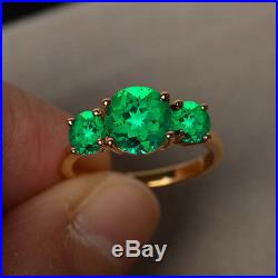 3 Ct Green Emerald Three-Stone Engagement Wedding Ring 14K Solid Yellow Gold