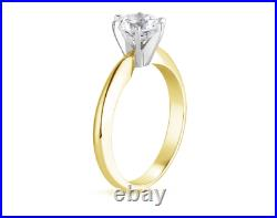 3 Ct Round Cut Solitaire Engagement Wedding Promise Ring Solid 14K Yellow Gold