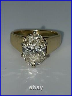 3ct VS2 Oval Solitaire 14k Gold Diamond Engagement Ring Sz6.5-Appraised 20,000