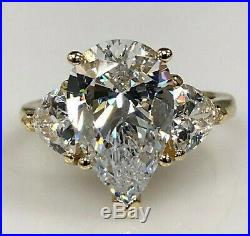4.03Ct Pear cut Three Stone Diamond Engagement Ring Solid 14k Yellow Gold