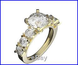 4.5 ct engagement ring Yellow gold 14K real solid anniversary round cut promise