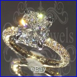 5Ct Cushion Brilliant Sparkle Moissanite Enagagement Ring 9K Real Yellow Gold