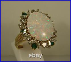 5Ct Oval Cut Fire Opal Two Tone Women's Engagement Ring 14K Yellow Gold Finish