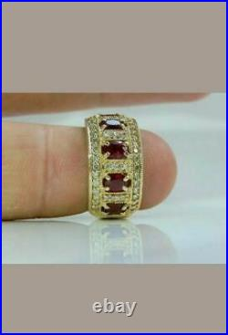 5Ct Oval Cut Red Ruby & Diamond Cluster Engagement Ring 14K Yellow Gold Finish