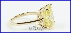 5.00CT Fancy Yellow Radiant Cut Engagement Wedding Solitaire Ring 14K YellowGold