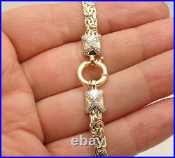8.25 Diamond Accent Byzantine Bracelet Spring Ring Clasp REAL 14K Yellow Gold