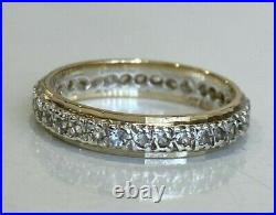 9K Solid gold & Silver full eternity band ring 2.20g size O 7