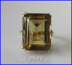 9ct Gold Ring Vintage 9ct Yellow Gold Oblong Citrine Cocktail Ring Size J 1/2