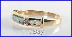 9k 9CT GOLD OPAL DIAMOND ETERNITY BAND ART DECO INS STACK RING FREE RESIZE