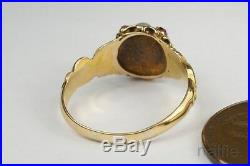 ANTIQUE ENGLISH MID VICTORIAN 18K GOLD PEARL & RUBY RING c1870
