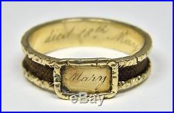 Antique 18ct Gold Early Victorian Plaited Hair Mourning Ring, (1849)