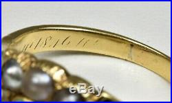 Antique 18ct Gold Late Georgian Turquoise & Pearl Mourning Ring