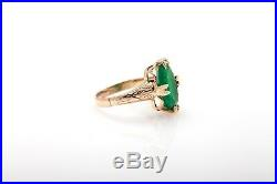 Antique 1920s $3400 3ct Colombian Emerald 14k Rose Gold Engraved Band Ring