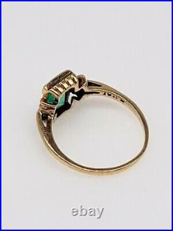Antique 1940s $4000 RETRO 2ct AAA+++ Colombian Emerald 10k Yellow Gold Ring Band