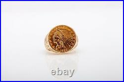 Antique $3400 1927 $2.50 Genuine INDIAN Gold COIN 14k Gold Mens Band Ring 15g