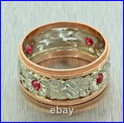 Antique Art Deco 14k Solid Yellow & White Gold Red Ruby Filigree Wide Band Ring