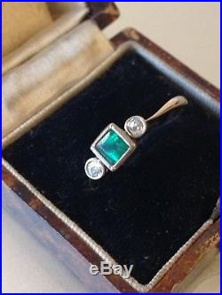 Antique Art Deco 18ct Square Cut Emerald and Old Cut Diamond Ring, Size M 1/2
