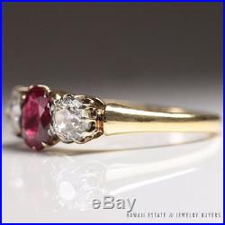 Antique Hamilton & Inches Pigeon Blood Ruby & Diamond Ring Gia No Heat Unheated