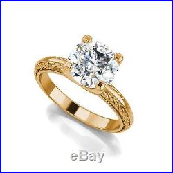 Antique Knife Edge 1.25 Ct Round Cut Diamond Engagement Ring Yellow Gold SI1 D