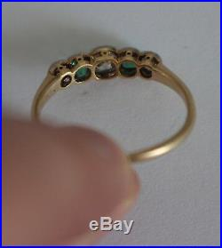 Antique Old Mine Cut Diamond and Emerald 5 Stone Gold/Platinum Ring Size 7 SALE