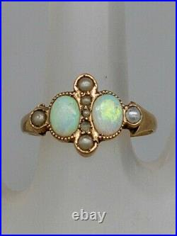 Antique Victorian 1870s 1.25ct Natural OPAL Pearl 14k Yellow Gold Band Ring