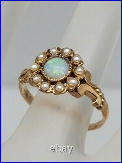 Antique Victorian 1880s. 75ct Natural OPAL Pearl 14k Yellow Gold HALO Ring