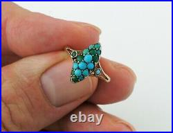 Antique Victorian Pave 9ct Gold Turquoise Navette Ring