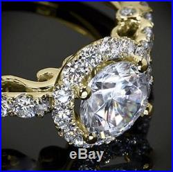Certified 1.50Ct White Round Moissanite Halo Wedding Ring Solid 14K Yellow Gold