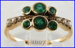 Class 9ct 9k Gold Colombian Emerald & Pearl Art Deco Ins Eternity Ring Free Size