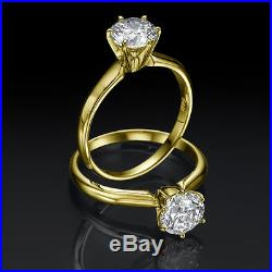 Diamond Ring Round Colorless 14k Yellow Gold 0.5 Ct Ladies Si1 Size 5 6 7 8