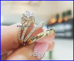 Diamond 14K Yellow Gold Trio His And Her Bridal Wedding Band Engagement Ring Set