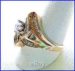 Diamond Cluster Ring 14k Yellow Gold Size 5.75 Round & Channel Set 1 Carat TW