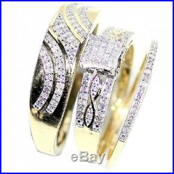 Diamond Trio Set Engagement Ring Wedding Band 14K Yellow Gold Over His Her 1.87C