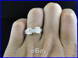 Diamond Trio Set His Hers Matching Engagement Ring Wedding Band 10K Gold Plated