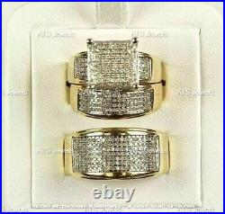 Diamond Wedding 14K Yellow Gold Over Trio His And Her Bridal Engagement Ring Set
