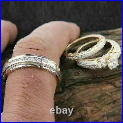 Diamond Wedding His & Her Trio Set Bridal Engagement Ring 14k Yellow Gold Over