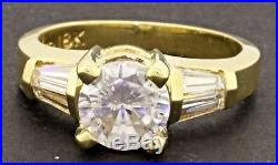 EGL 18K gold 1.91CT SI2/F diamond wedding/engagement ring with 1.51CT ctr. Size 6