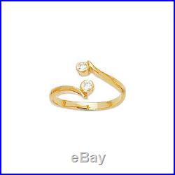 East West Diamonique CZ Adjustable Toe Ring REAL Solid 14K Yellow Gold