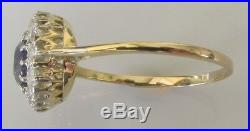 Edwardian 18ct Gold Round Sapphire Old Cut Diamond Cluster Ring Size Q 1/2