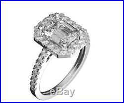 Emerald cut 14K Yellow Gold Engagement Ring Certified Natural Accent Diamonds VS