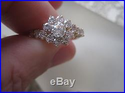Estate 14K YELLOW GOLD 1.50 ctw Diamond Cluster Cocktail Ring Size 6.5
